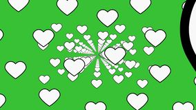 A retro vintage atmosphere flourishing with hearts under a green background - animation stock footage