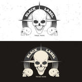 Retro vintage badge, symbol or logotype with skull. Royalty Free Stock Photography