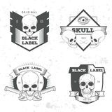 Retro vintage badge, symbol or logotype with skull. For design elements, business signs, logos, identity, labels, badges and objects Stock Image