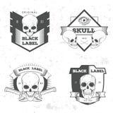 Retro vintage badge, symbol or logotype with skull. Stock Image