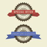 Retro vintage badges set. Classic design elements with ribbons. Premium quality, limited edition, special offer messages vector illustration