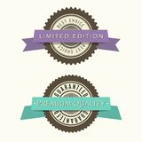 Retro vintage badges set. Classic design elements with ribbons. Premium quality, limited edition, special offer messages royalty free illustration