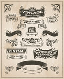 Retro vintage banner and ribbon set. Vector illustration design elements with textured background Stock Images
