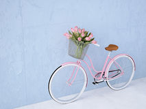 Retro vintage bicycle old and blue wall. 3d rendering Royalty Free Stock Photos