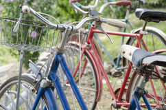 Retro Vintage bikes from the past. Vintage old 1950`s rusty old bicycles parked on display in Pleasant Hill Missouri at a restoration shop Royalty Free Stock Images