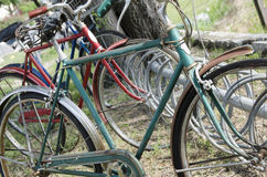 Retro Vintage bikes from the past. Vintage old 1950`s rusty old bicycles parked on display in Pleasant Hill Missouri at a restoration shop Stock Images