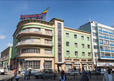 Retro vintage buildings in street of addis ababa ethiopia Royalty Free Stock Photography