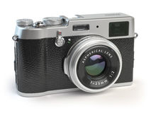 Retro vintage camera   on white Stock Image
