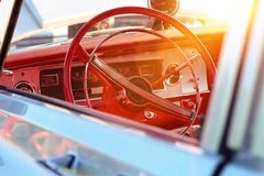 Retro vintage car. Car steering wheel royalty free stock images