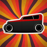 Retro vintage car. Retro vintage car on colorful abstract rays background Stock Photos