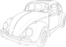 Retro vintage car with outlines. Vector illustration in black and white. stock illustration