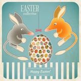 Retro Vintage Card with Easter Australian Bilby Stock Photos