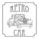 Retro vintage cars coloring page isolated on white. Retro vintage cars coloring adult page isolated on white Royalty Free Stock Photography