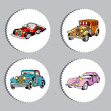 Retro vintage cars oval  stickers set Royalty Free Stock Images
