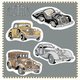 Retro vintage cars stickers set Royalty Free Stock Image