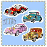 Retro vintage cars stickers set Stock Images