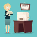 Retro Vintage Cartoon Businesswoman Character Royalty Free Stock Photography