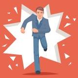 Retro Vintage Cartoon Poster Running Hurry Meeting Businessman Character Stock Image