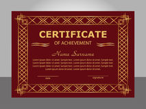 Retro vintage certificate achievement template. Golden and red f. Rame. Vector illustration Royalty Free Stock Photography