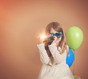 Retro Vintage Child Taking Photo with Old Camera stock image