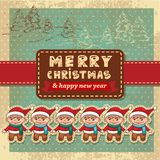 Retro vintage christmas card Stock Images