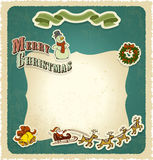 Retro vintage christmas frame seasons greetings ca Royalty Free Stock Photos