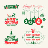 Retro Vintage Christmas set with Typography. Set of Christmas signs, emblems and Greeting Stock Photo