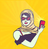 Retro vintage clipart: Glamorous pretty lady taking selfie with smartphone camera Royalty Free Stock Images