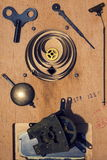Retro vintage clockwork movement watch mechanism on wood Royalty Free Stock Images