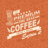 Retro Vintage Coffee Background with Typography Stock Image