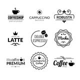 Retro Vintage Coffee Labels Logo design vector typography lettering inspiration templates. Retro elements, business Royalty Free Stock Photo