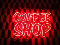 Coffee shop neon sign. Retro vintage coffee shop neon sign lighting Stock Images