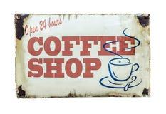 Retro Vintage Coffee Shop Sign. Isolated Retro Vintage Coffee Shop Sign For 24 Hour Diner Stock Photography
