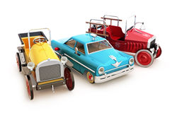 Retro vintage collection of toy cars. On a white background Royalty Free Stock Photography
