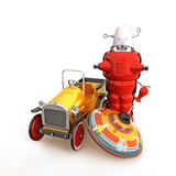 Retro vintage collection of toys. Car, spin top and robot on a white background Royalty Free Stock Photo