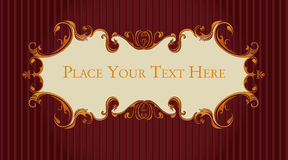 Retro, vintage dark red and gold scrolls. Fancy, vintage burgandy and gold scrollwork plaque stock illustration