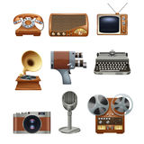 Retro vintage devices pictograms set Stock Photo