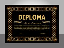 Retro vintage diploma. Golden and black template. Vector stock photo