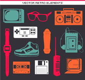 Retro 80 vintage elements set. Collection Stock Illustration