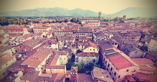 Retro vintage faded styled aerial picture of Lucca. Stock Images