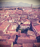 Retro vintage faded styled aerial picture of Lucca. Royalty Free Stock Photography