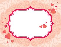 Retro Vintage festive vector  greeting Valentine`s Day card. With copy space Stock Photography