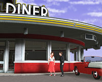 Retro Vintage Fifties Diner Illustration. Teenagers going on a date to a fifties retro food drive in diner. The vintage illustration shows a restaurant, people Stock Images