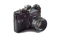Retro vintage film camera stock image