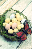 Retro vintage filter Happy Easter Spring speckled eggs with butterfly Stock Image