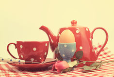 Retro vintage filter red check breakfast setting Royalty Free Stock Images
