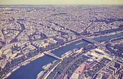 Retro vintage filtered Paris panoramic view Stock Photos