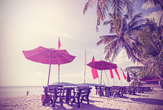 Retro vintage filtered picture of a beach. stock photography