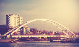 Retro vintage filtered picture of a bridge in Kolobrzeg, Poland Stock Photography