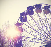 Retro vintage filtered picture of a carousel. Royalty Free Stock Photo